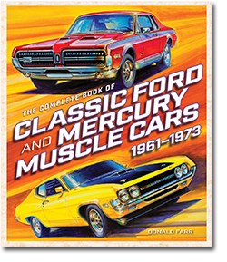 The Complete Book of Classic Ford and Mercury Muscle Cars 1961-1973 book with color drawing of red and yellow muscle cars