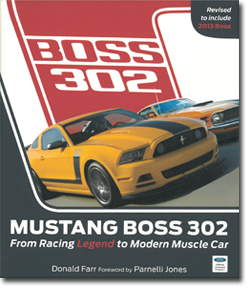 Front cover of Mustang Boss 302 book with yellow and orange Ford Mustangs side by side