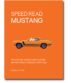 Orange book cover reading Speed Read Mustang with image of Orange 1970 Ford Mustang side view